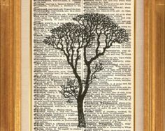 60% OFF ALL ITEMS Bare Tree Printed on Vintage Dictionary Page - Dictionary Art Print - Upcycled Page