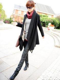 Irregular Kimono Black Woolen Coat | GonChas