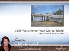 3659 West Mercer Way, Mercer Island  First time on the market! This true mid-century modern custom home was built in 1969 and has a timeless floorplan perfect for today's busy lifestyles. If you are looking for privacy -- this is it! Tucked off of West Mercer Way with a perfect view perch–which affords lovely western views from every room. Home could use some TLC so bring your decorator and/or contractor. Make this home your very own. Easy I-90 freeway, award winning schools, parks…