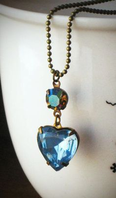 Blue Heart Necklace Crystal Rhinestone Valentine