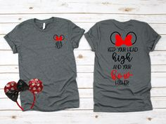 Disney / Minnie Bow / Head High Bow Higher / Family Tee / Disney World / Disneyland / Mickey / Minnie / T-Shirt / T Shirt / Tee Shirt - Senior Shirts - Ideas of Senior Shirts - Disney Vacation Shirts, Disney Shirts For Family, Disney Trips, Disney Diy Shirts, Disney Cruise, Disney Christmas Shirts, Disneyland Trip, Disney Clothes, Disneyland Shirts For Family