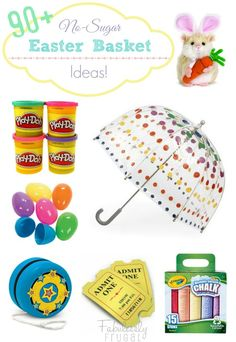 Over 90 Sugar-Free Easter Basket Filler Ideas! http://fabulesslyfrugal.com/?p=196706
