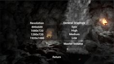 Graphic detail and screen resolution menu for Ignis Uprising