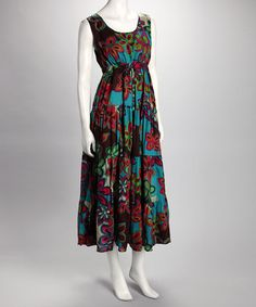 Take a look at this Brown Retro Floral Dress by Vasna on #zulily today!