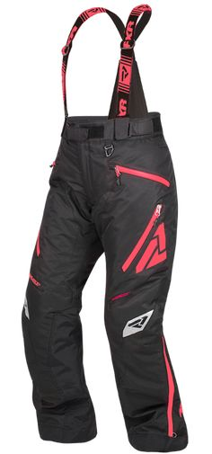 FXR Women's VERTICAL PRO PANT at Up North Sports Snowmobile Pants Black and Coral Snow Pants