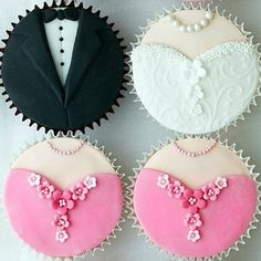 How cute! Instead of a wedding cake, have tiers of cupcakes. Of course bride and groom on top.