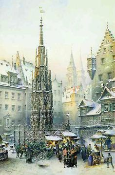 """Nurnberg, Germany. $10.49. FromBrück and Sohn (Printers in Meissen, Germany since 1793) a charming Advent Calendar of Nurnberg, Germany,depicting the famous Christkindlesmarkt / Christmas Market. This delightful advent calendar is 10.5"""" x 12.5"""".  Made in Germany.  Available at www.mygrowingtraditions.com"""