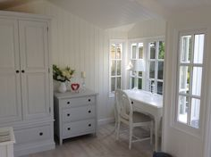Inside our lovely new Summerhouse, August 2014 Garden Studio, August 2014, China Cabinet, Style Ideas, Decorating, Cream, Cool Stuff, Storage, House