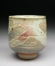 Handmade Larger Smokey Carbon Trap Shino glazed Yunomi Tea Cup with subtle details and Rosy Blush by D. Michael Coffee