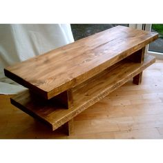 Hand Made Rustic Widescreen TV Stand - Stained in Med Oak