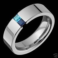 Mens Titanium Tension Set Sapphire Wedding Band Ring Rings Comfort Fit Sz 4 14 | eBay