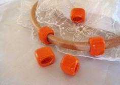 Ceramic Bead Tube Slider Orange for use Oval Licorice by vess65, $1.95