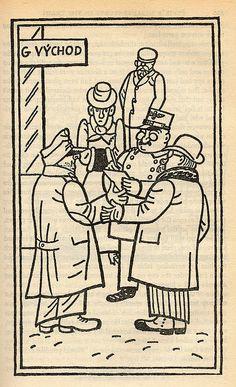 "Josef Lada – Illustration for Jaroslav Hašek's ""The Good Soldier Švejk and His Fortunes in the World War,"" 1924 The Good Soldier Svejk, First Novel, Book Illustration, Illustrators, Fairy Tales, Vintage World Maps, The Past, Sketches, War"