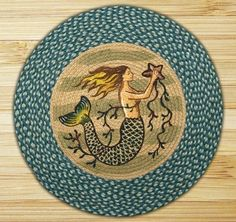 Earth Rugs Mermaid Printed Rug, Blue/Ivory: Hand stenciled Mermaid design by Phyllis Stevens. Made from Natural jute fiber that can be spot cleaned with mild soap and water.
