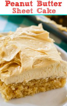 Peanut Butter Sheet Cake is a moist sheet cake topped with a super creamy and sweet peanut butter icing. Peanut Butter Sheet Cake, Peanut Butter Icing, Desserts With Peanut Butter, Peanut Cake, Sheet Cake Recipes, Sheet Cakes, Icebox Cake Recipes, Dessert Recipes, Baking Desserts