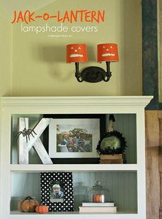 Make these diy Jack-O-Lantern lampshade covers for quick and easy Halloween Decor-OneKriegerChick