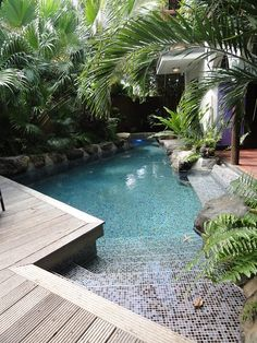 Swimming pools backyard, Pool, Small backyard design, Small backyard, Backyard p. Small Swimming Pools, Small Pools, Swimming Pools Backyard, Swimming Pool Designs, Lap Pools, Indoor Pools, Swimming Ponds, Backyard Beach, Small Backyard Pools