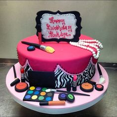 MAC Cosmetics Fondant Birthday Cake by Jennie G on SheSaidBeauty Cakes To Make, Make Up Cake, Teen Cakes, Baby Cakes, Cupcake Cakes, Sweet 16 Cakes, Cute Cakes, Teenage Girl Cake, Mac Cake