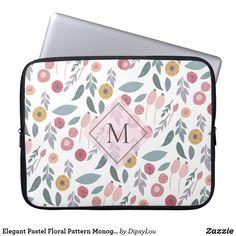 Elegant Pastel Floral Pattern Monogram Laptop Sleeve