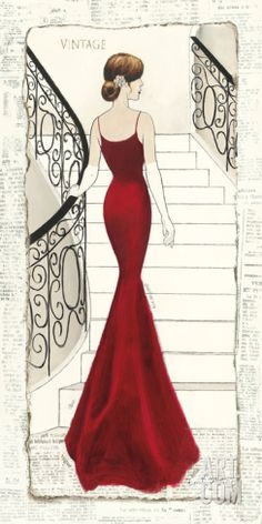 La Belle Rouge Art Print by Emily Adams at Art.com
