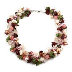 """Freshwater Pearl Collar Necklace; 16""""L; Genuine Pink And Beige Freshwater Pearls; Maroon, Green, Pink, And Beige Semi Precious Stone Beads; Lobster Clasp Closure; Due To Genuine Nature Of Stones, Shapes And Tones May Vary Slightly; Eileen Jewelry, http://www.amazon.com/dp/B00DHH0J36/ref=cm_sw_r_pi_dp_OdhXrb5AC7AE45A4"""