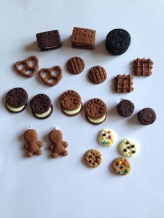 10 Cookie Fimo Charms Jewellery Making DIY Beads Bundle Oreo Biscuit Pretzel Waffle