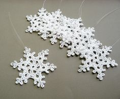 Crochet Christmas Snowflake Ornaments from Caitlin Sainio Designs