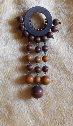 Large Aarikka Finland Brooch Vintage Wood Beads by MyCreations4U, $69.00
