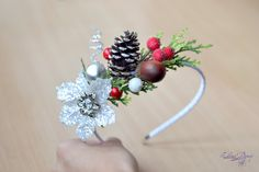 Christmas Girl crown Pine cone head piece Winter woodland crown Christmas headband Rustic winter crown winter wedding New years crown  Ready to ship  Christmas magic and the magic of love merged in this wonderful crown.  Acorn, pinecone, balls in sugar and sparkling flower with Swarovski crystal in the center... All this creates a fabulous Christmas mood. It is a great addition to Christmas photography, Christmas party or wedding.   Perfect for Women, Teen Girls and little girls. Comfortable…