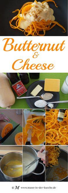 Pasta aus Kürbis mit einer deftigen Käsesauce und Brotbrösel für den Crunch.  | #food #rezept #kürbis #butternut #cheese #vegetarisch