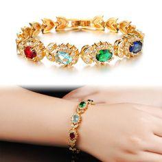 Bride Jewelry Bracelets Micro Inlay ircon K Gold Plated Austrian Crystal Bracelets KS