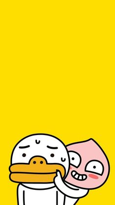 Check out this awesome collection of Kakao Friends wallpapers, with 37 Kakao Friends wallpaper pictures for your desktop, phone or tablet. Peach Wallpaper, Wallpaper Iphone Cute, Tumblr Backgrounds, Wallpaper Backgrounds, Apeach Kakao, Kakao Friends, Simple Doodles, Character Wallpaper, Korean Art