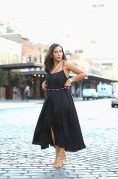 This Season's Gold - Resurgence // Cobble stone #streetstyle black summer maxi dress