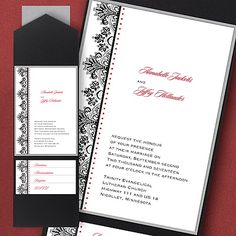 Regal Flourishes - Layered Pocket Invitation Item Number FBN4385A This layered, pocket invitation is shown with a flourished design. This wedding invitation features black and cherry ink.  http://balloons-and-more.carlsoncraft.com/Wedding/Pockets/2414-FBN4385A-Regal-Flourishes--Layered-Pocket-Invitation.pro