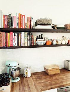 wood, subway tiles, open shelves