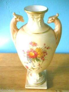 Royal Worcester with twin ancient birds on handled pedestal vase Listing in the Other,Royal Worcester,China & Porcelain,Porcelain, Pottery & Glass Category on eBid United States
