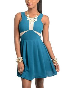 Take a look at this Turquoise & Cream Color Block Dress on zulily today!
