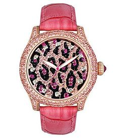196 Betsey Johnson Pink Leopard Watch.