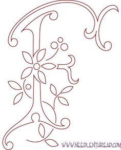 Motif Gratuit pour monogrammes brodés à la main: la lettre F
