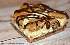 Chocolate chip cookies bars stuffed with cheesecake will send you over the moon. Use premade cookie dough for a shortcut or homemade cookie dough