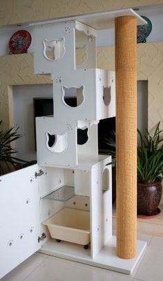 "CatS Design ""2 in 1 Kletterbaum & Katzentoilette "" D-4: Amazon.de: Haustier"