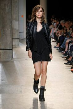 Zadig & Voltaire Spring-Summer 2014 Fashion Show #ParisFashionWeek #Zadig #zadigetvoltaire #black #dress #leather