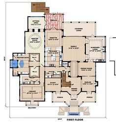 Beach Style House Plan - 4 Beds 4.5 Baths 13717 Sq/Ft Plan #27-480 Floor Plan - Main Floor Plan - Houseplans.com