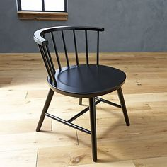 Riviera Black Low Windsor Side Chair in Paola Navone Riviera | Crate and Barrel