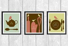 Modern Birds on Kitchen Utensils Set of 3 Designer Original 8 x 10 Art Print Coral Sage Aqua Brown Tea Time Let's Bake Good Eats