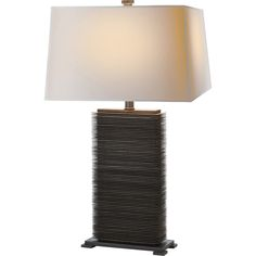 Chart House E.F. Chapman Convector Rectangular Table Lamp in Antique Zinc with Natural Paper Shade by Visual Comfort & Co. CHA8539AZ-NP