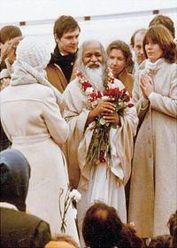 The Maharishi during a 1979 visit to Maharishi University of Management in Fairfield, Iowa