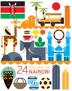 What would you do if you had 24 hours in Nairobi, Kenya? Would you head into the city or check out the wildlife at Nairobi National Park? Kenya Travel, Africa Travel, Travel Illustration, Graphic Design Illustration, Travel Maps, Travel Posters, Africa Continent, East Africa, Africa Art