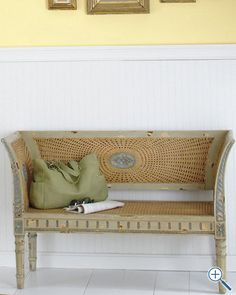 """Caned Bayonne Settee from Garnet Hill, perfect for a beach house foyer, or at the foot of a bed...really pretty French caning. 51""""W x 32""""H x 18""""D."""