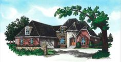 "Plan : RG2308-10  Width 56'-4""  Depth 69'-10""   Ceiling Height: 9'  Main Roof Pitch: 9 in 12  Features:  3 Bedrooms, 3 Baths  Split Bedroom Plan  Bonus Room w/ Bath over Garage  Raised Ceiling in Master  12' Ceiling in Den, Foyer, & Dining  Sunroom  Covered Front and Rear Porches  Gourmet Kitchen  Oversized Laundry Room  Country French Styling    Total Living Area: 2357 sq. ft.  houseplan, home design, house plan, floorplans, plans"